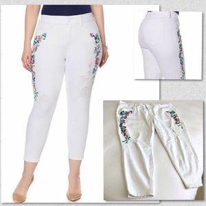 Seven7 Carmen Embroidered White Jeans Skinny 24W